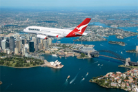 Qantas A380 flying over Sydney © Qantas